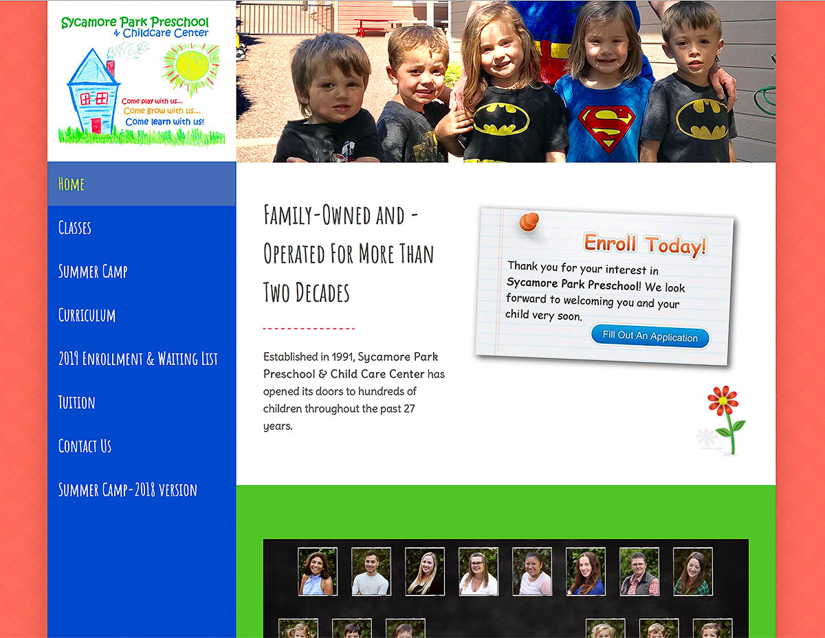 Website for Sycamore Park Pre-School